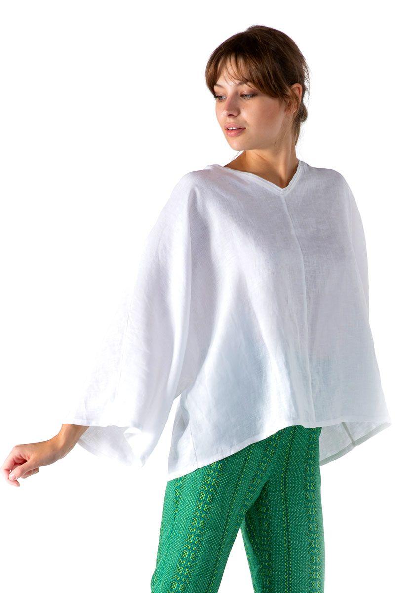 Linen V-Neck Sleeved Blouse