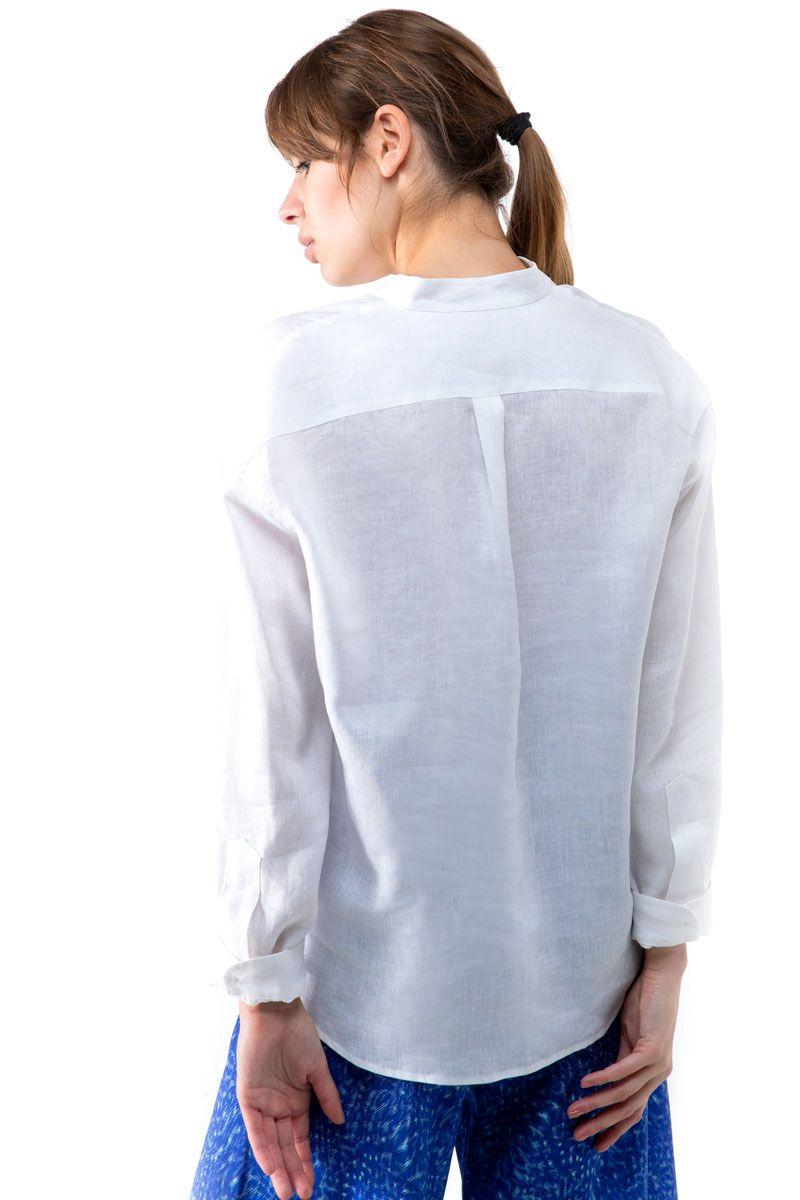 Collarless Linen Shirt